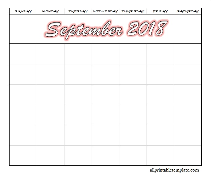Blank September 2018 Calendar Printable PDF