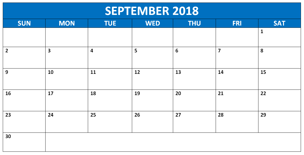 Blank September 2018 Calendar Printable Template