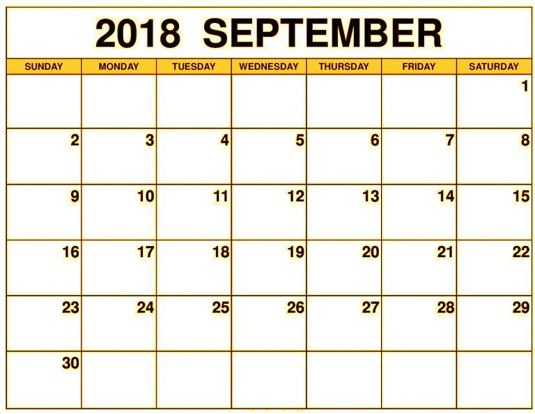 Blank September 2018 Calendar Singapore