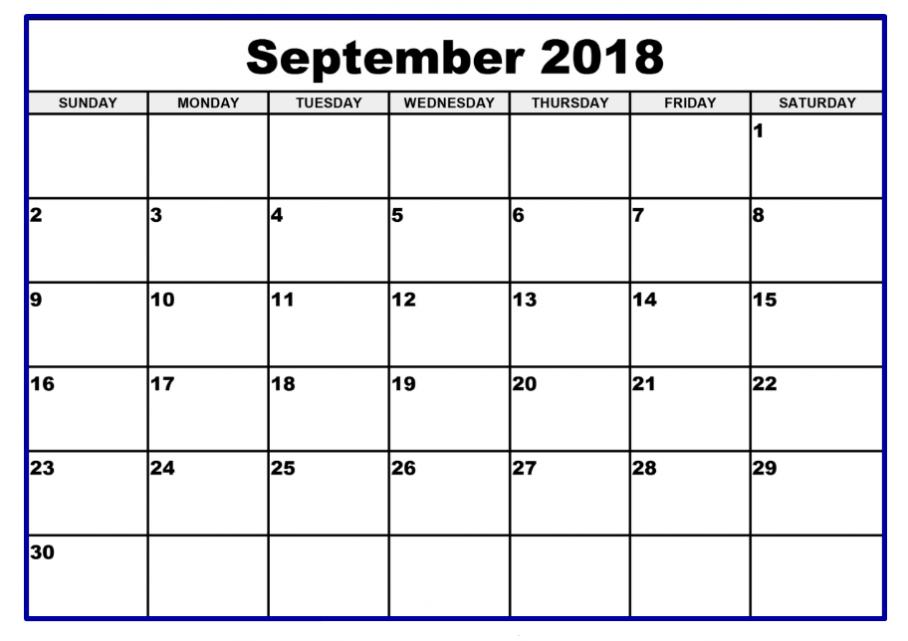 Blank September 2018 Calendar South Africa