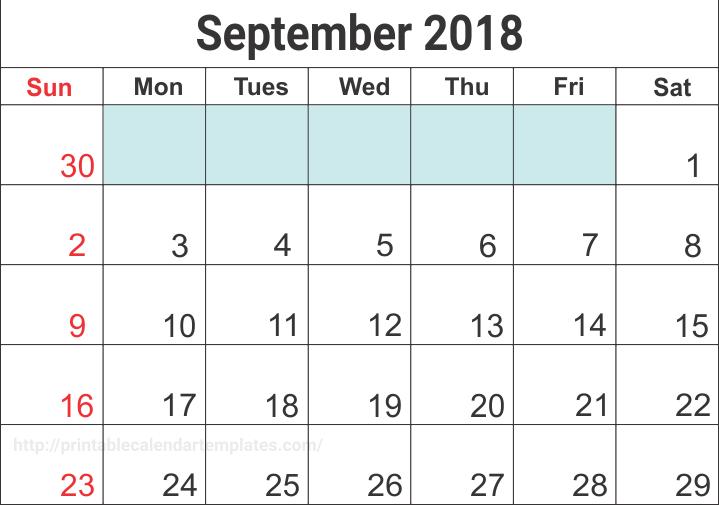 Blank September 2018 Calendar Word