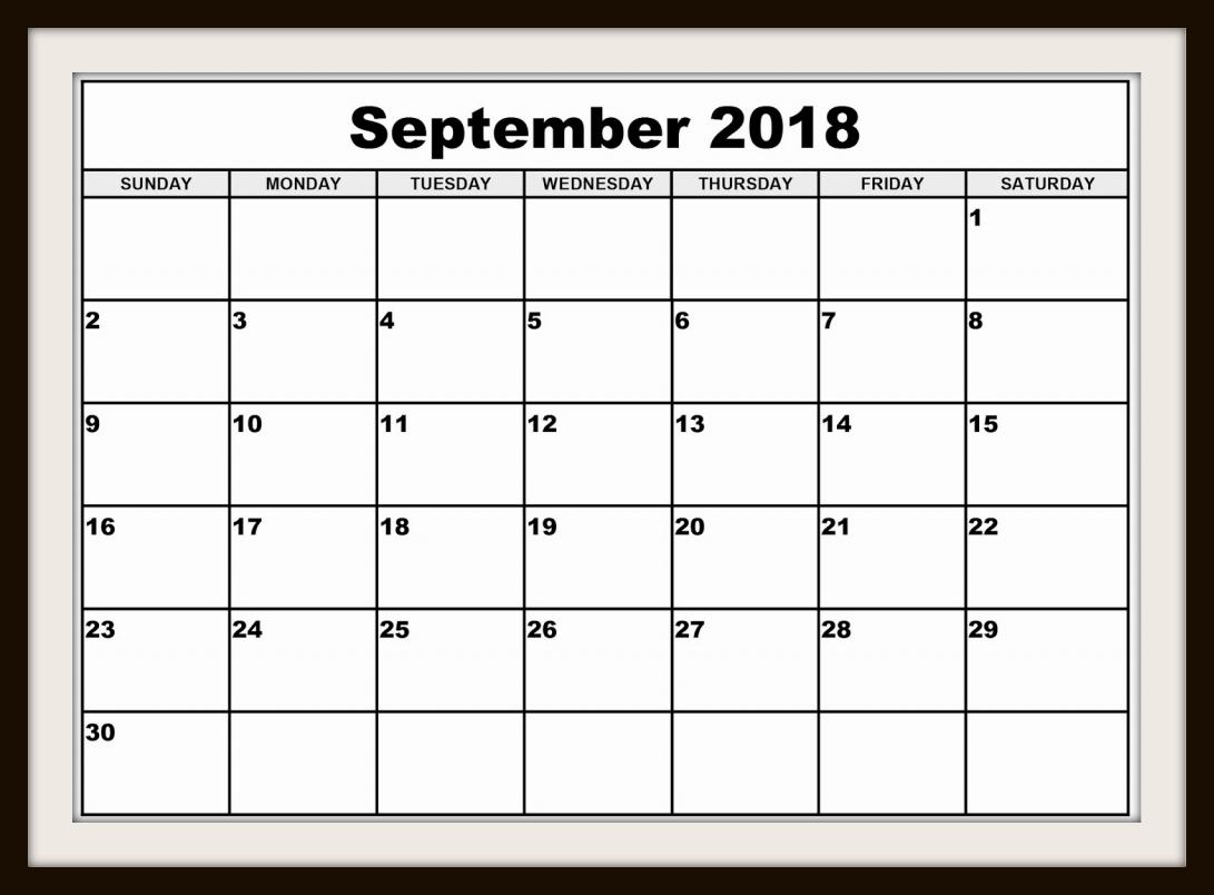 Blank September 2018 Calendar to Print