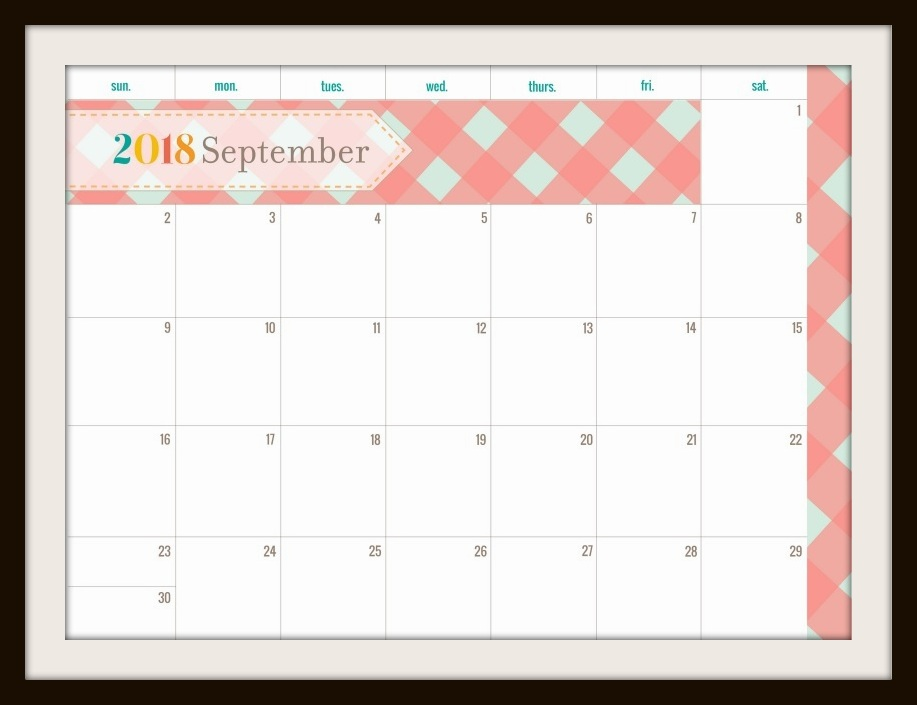 Blank September 2018 Calendar with Holidays