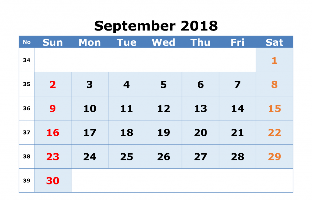 Blank september 2018 calendar excel template