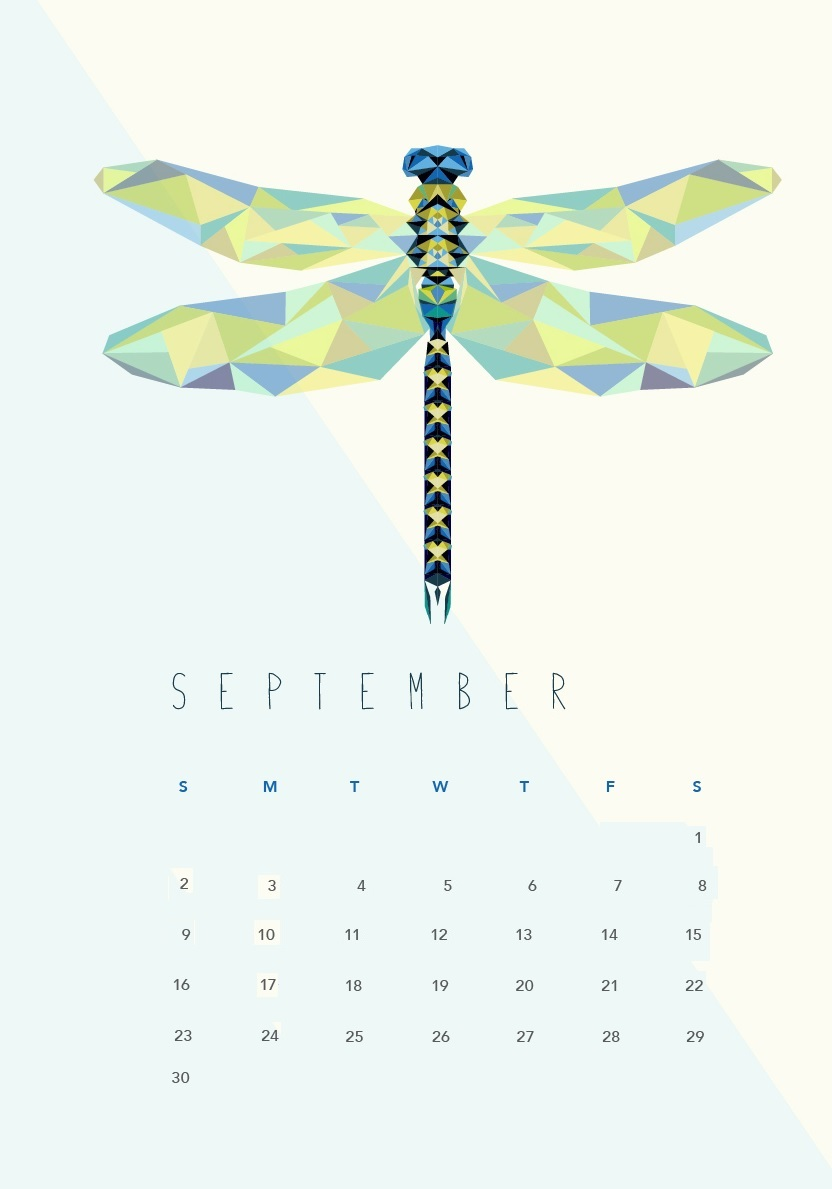 Butterfly September 2018 iPhone Calendar