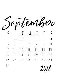 Calendar For September 2018