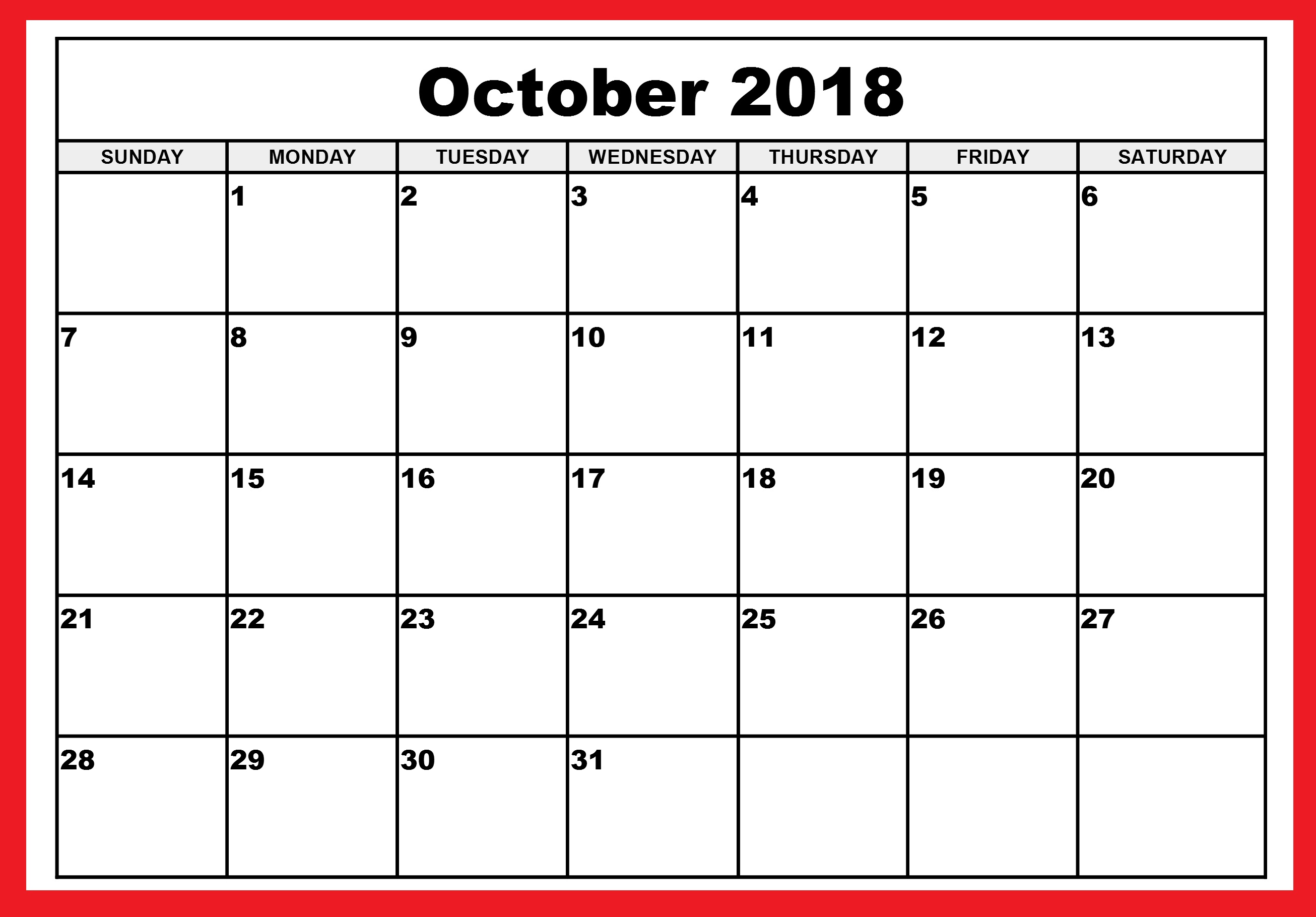 Calendar October 2018 Blank Monthly Templates