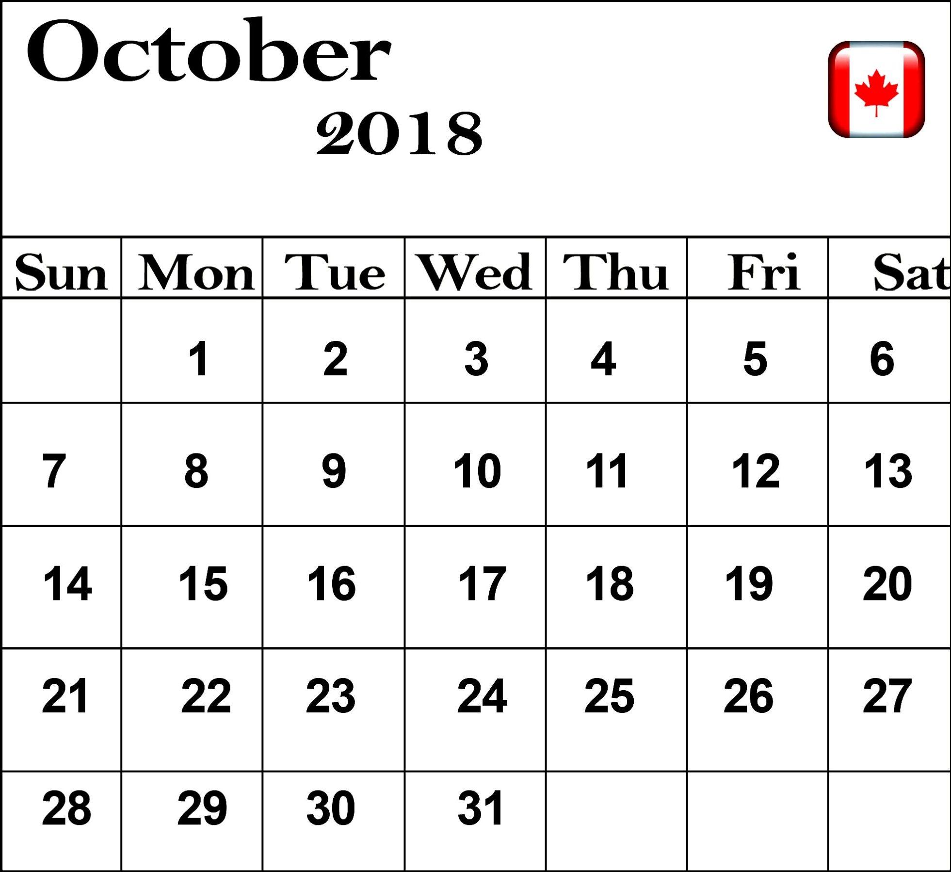 Calendar October 2018 Canada