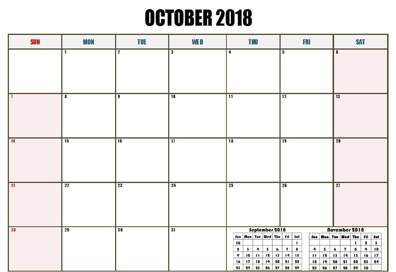 Calendar October 2018 PDF