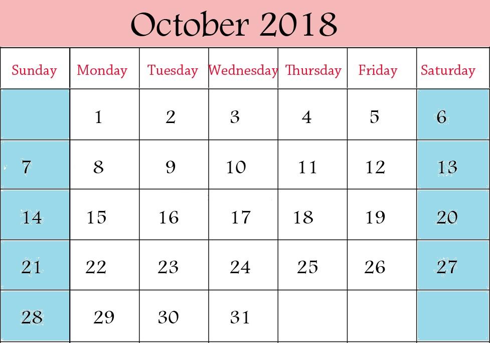 Calendar October 2018 Page
