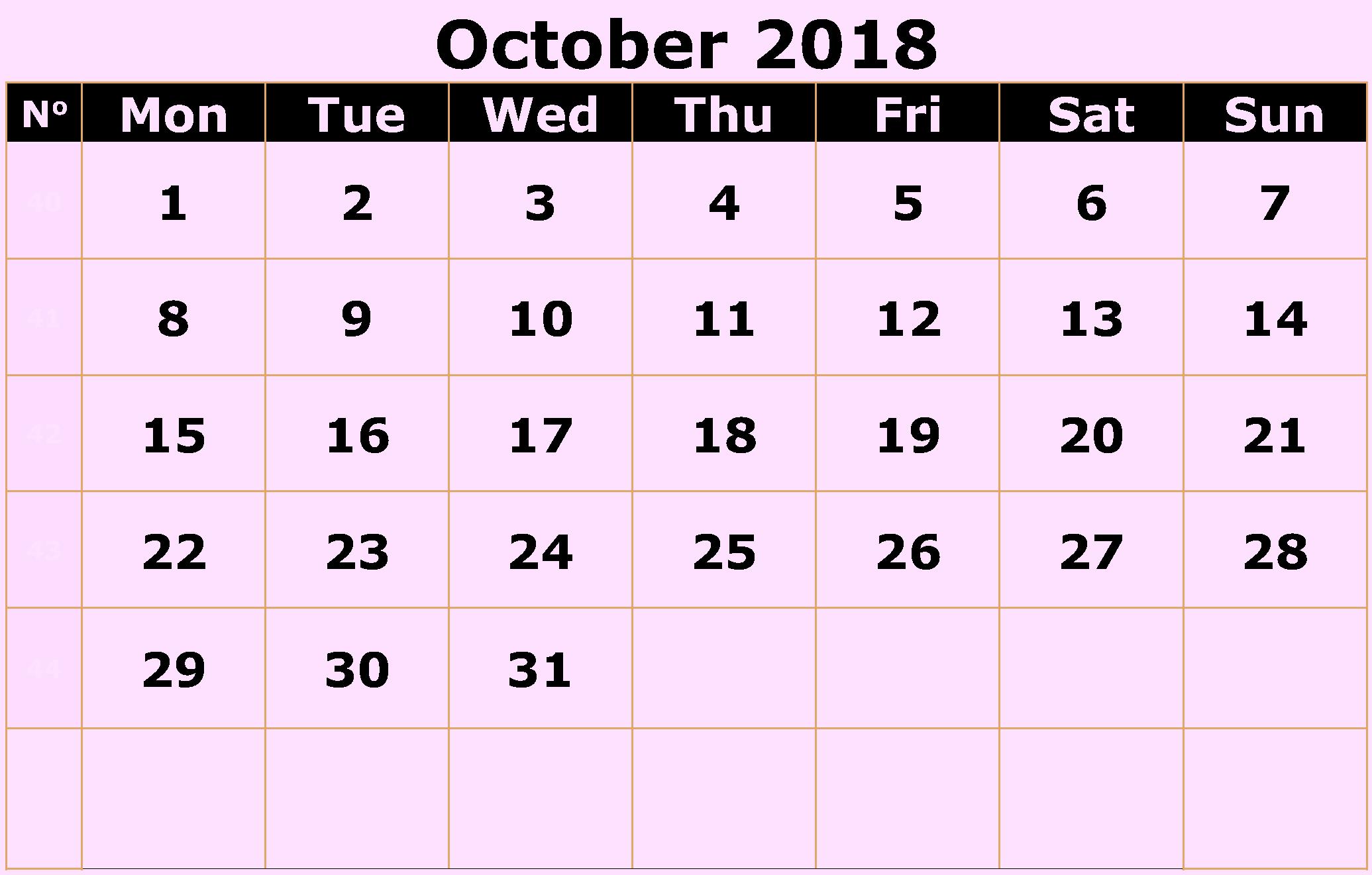 Calendar October 2018 Pink