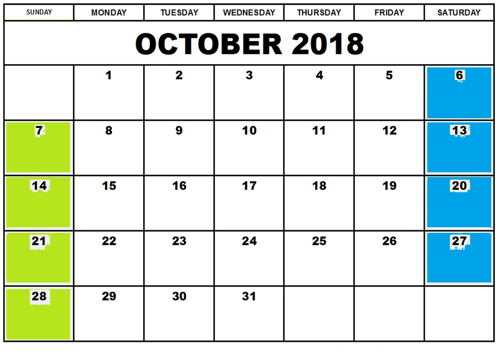 Calendar October 2018 Printable Template