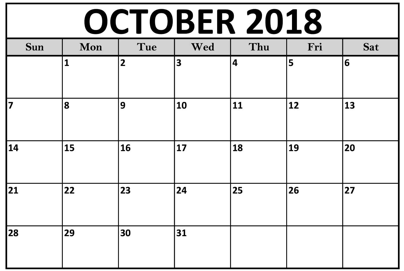 Calendar October 2018 Printable