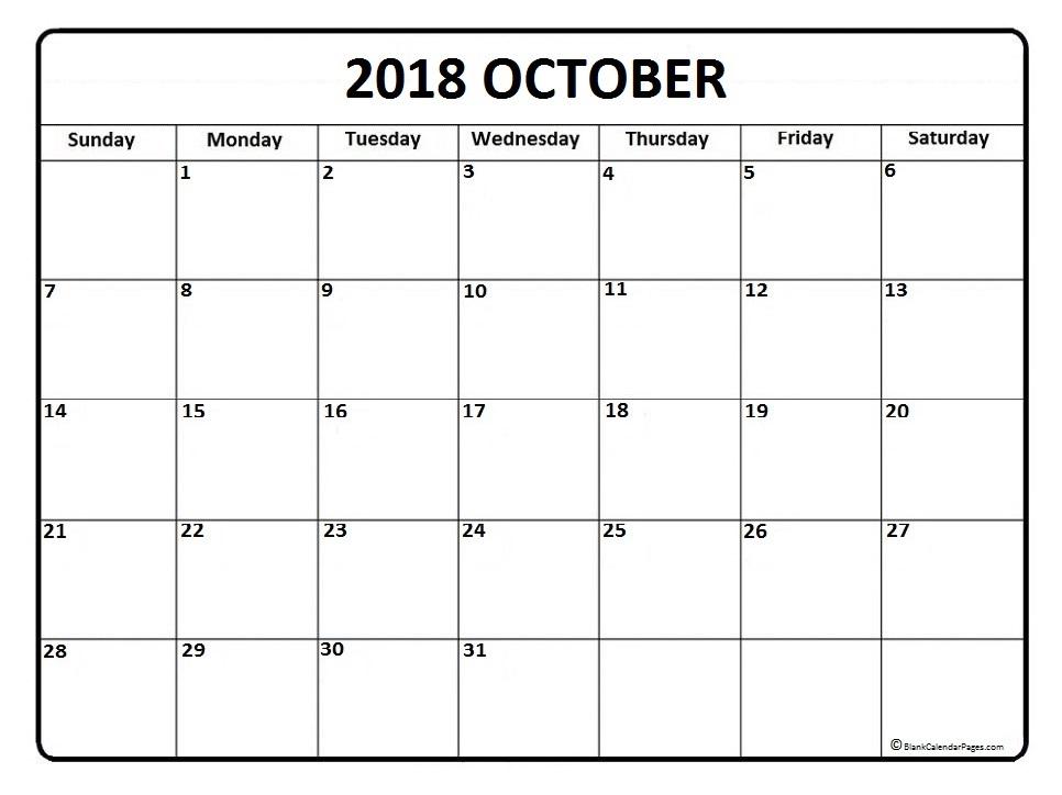 Calendar October 2018 South Africa