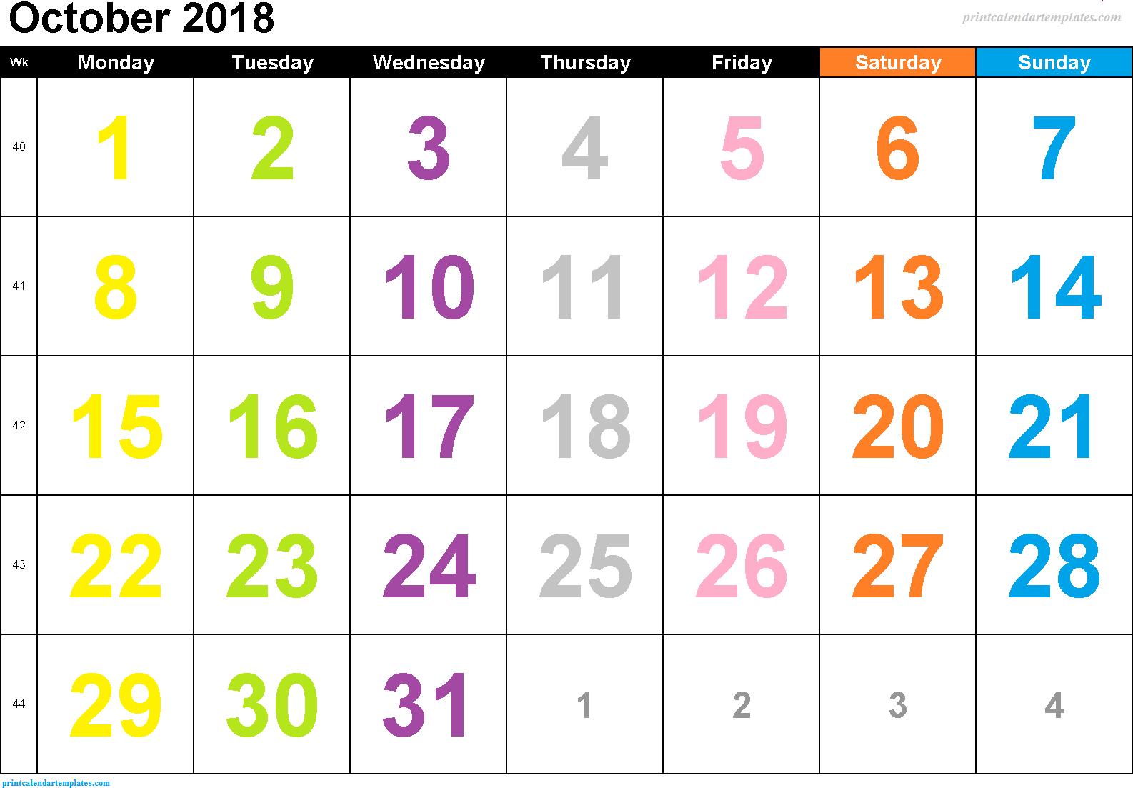 Calendar October 2018 Template