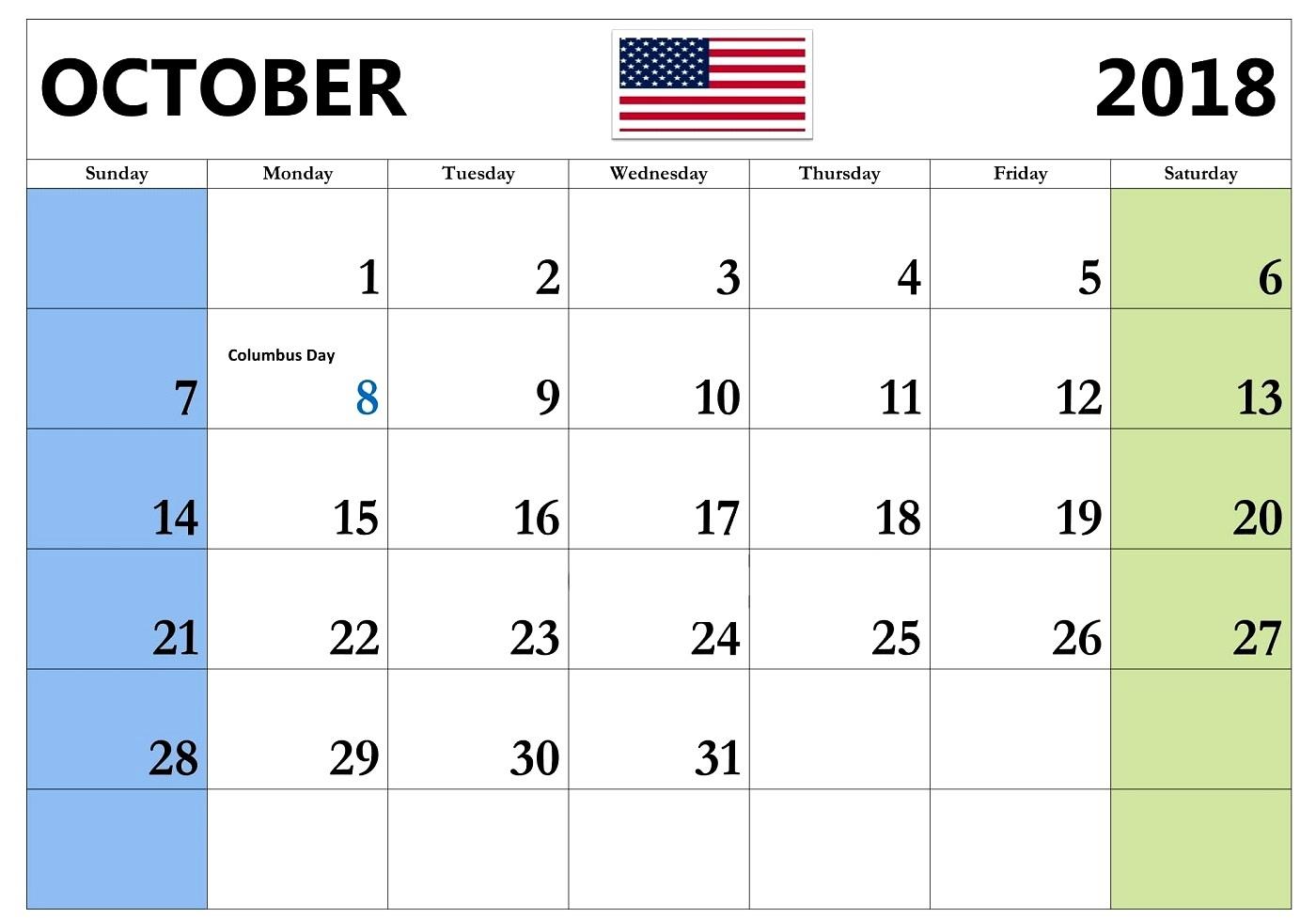 Calendar October 2018 USA