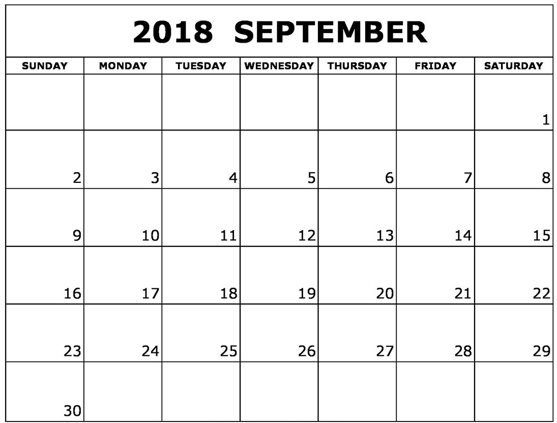 Calendar September 2018 Canada with Holidays