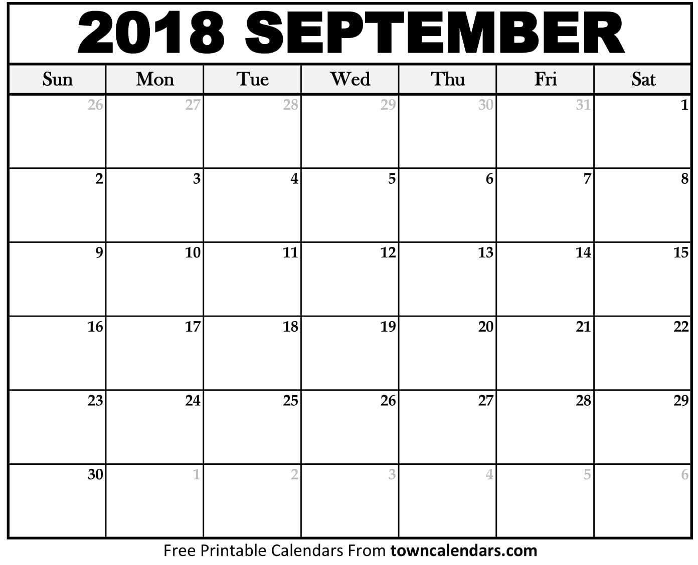 Calendar September 2018 Page