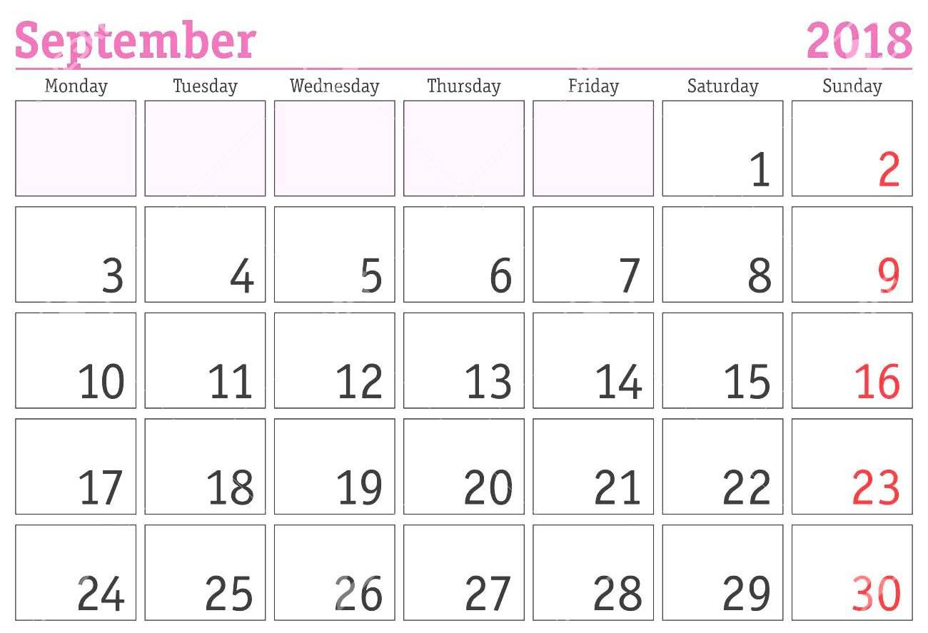 Calendar September 2018 Pink