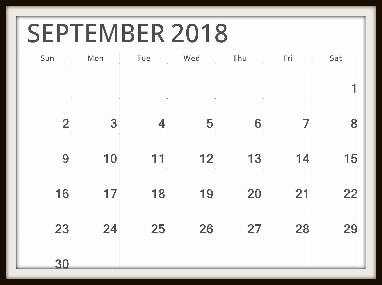 Calendar September 2018 Printable