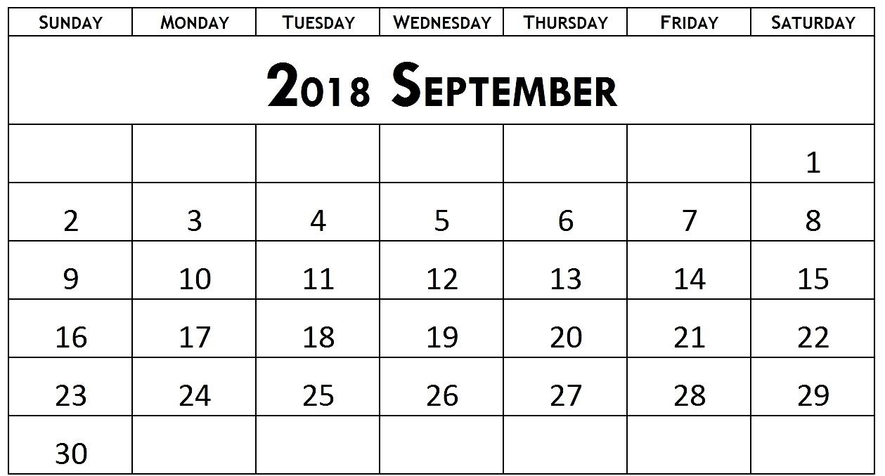 Calendar September 2018 Template