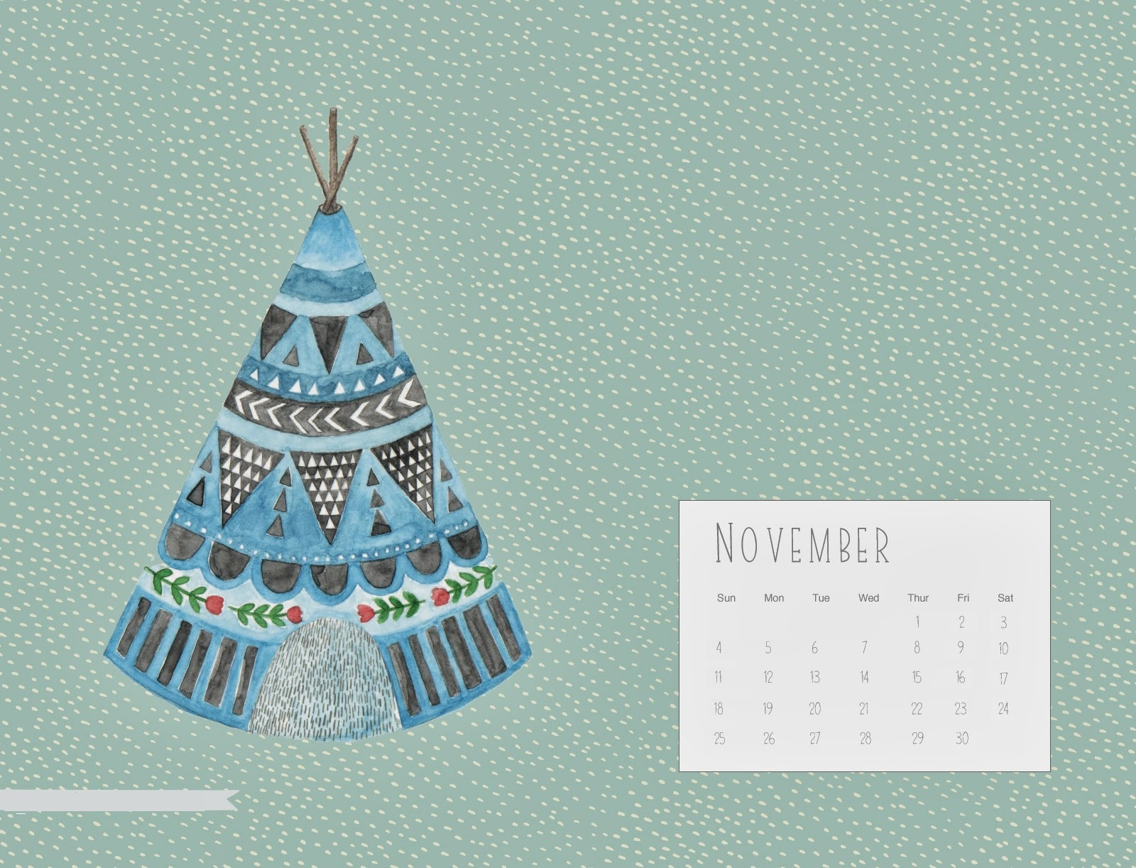 Cute November 2018 Desktop Calendar