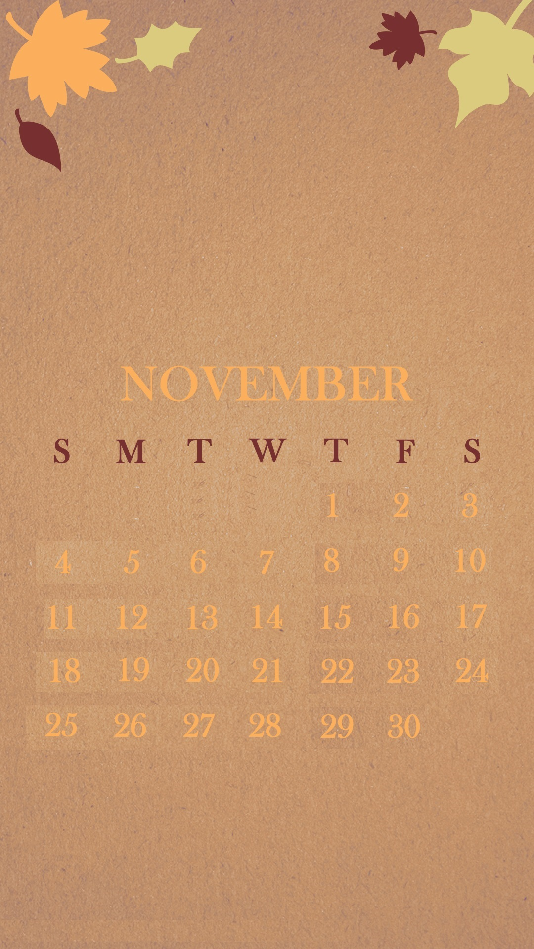 Cute November 2018 iPhone Calendar