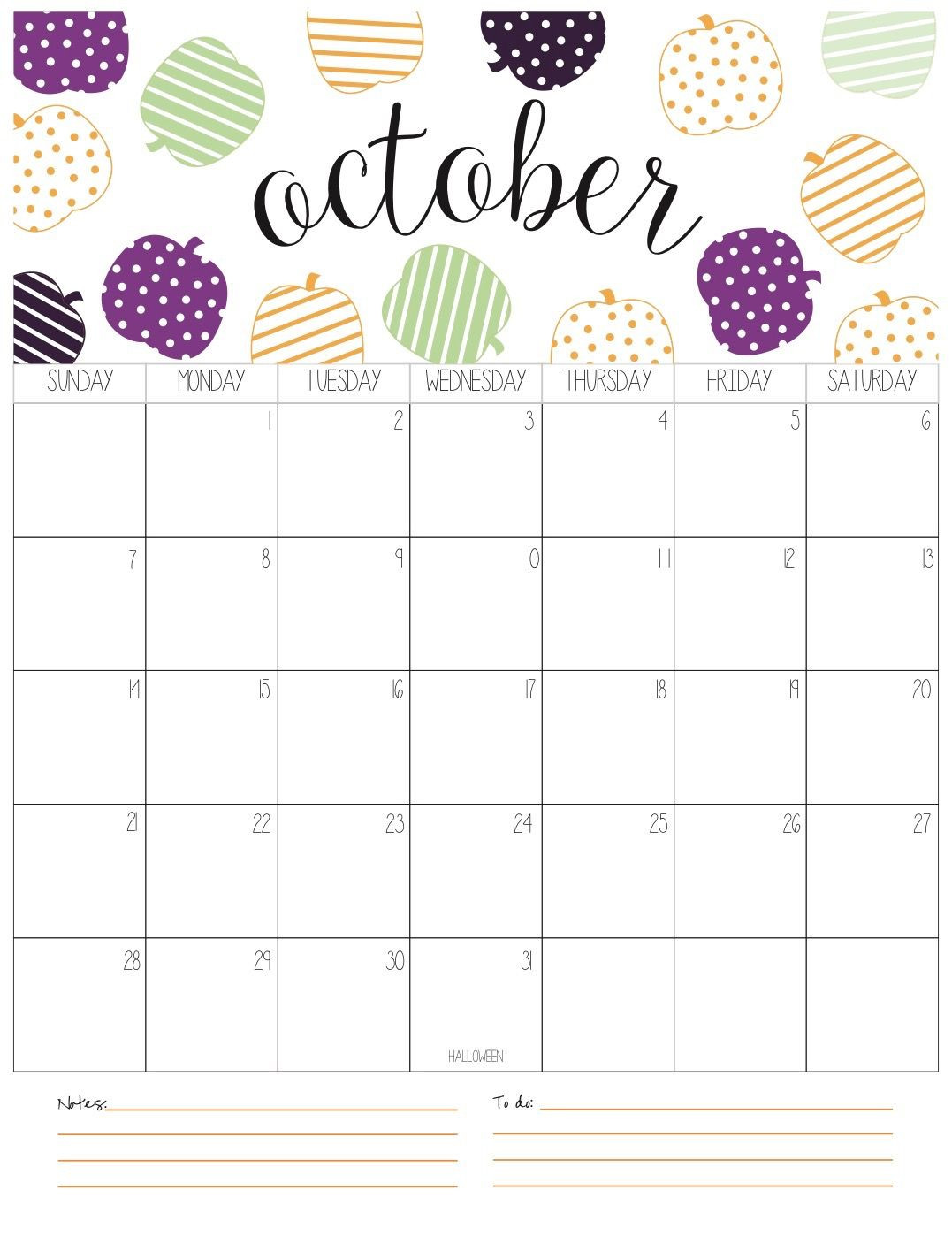 Cute October 2018 Calendar Printable