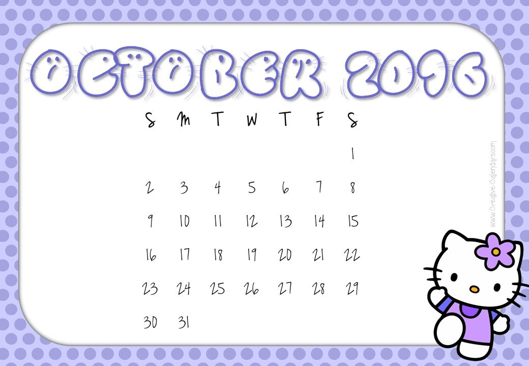 Cute October 2018 Calendar Singapore