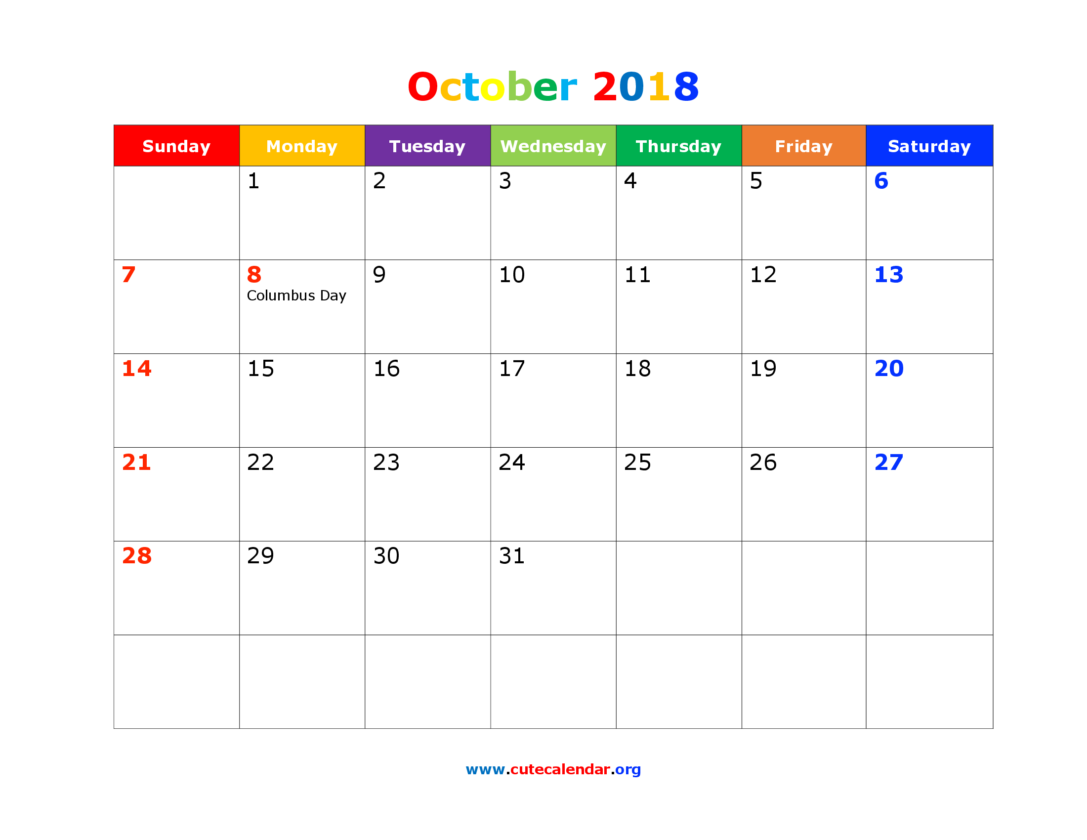 Cute October 2018 Calendar with Holidays
