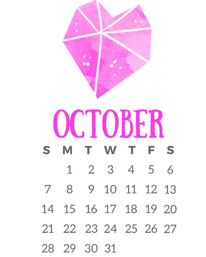 Cute Printable October 2018 Calendar