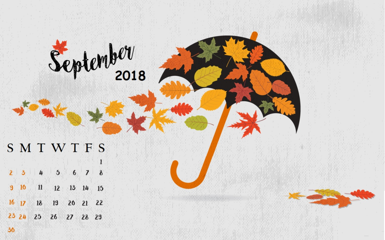 Cute September 2018 Calendar Wallpapers