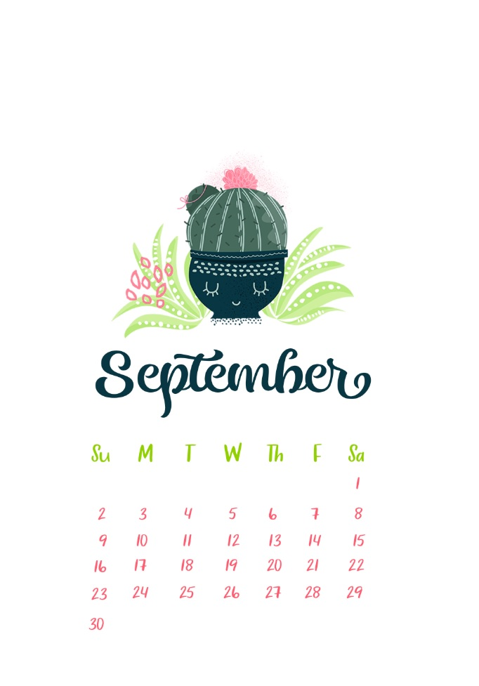 Cute September 2018 iPhone Calendar Wallpaper