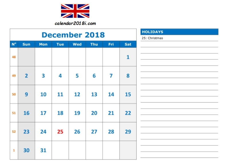 December 2018 Calendar UK Holidays