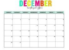 December 2018 Printable Calendar Template