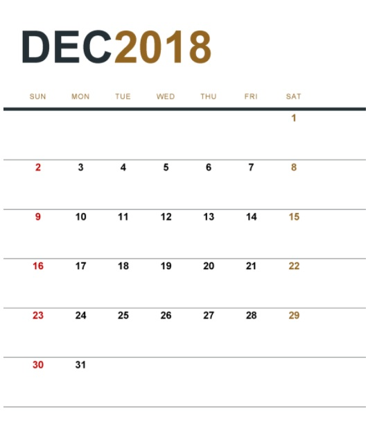 December 2018 Printable Planner