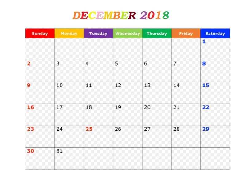 December 2018 Printable Templates