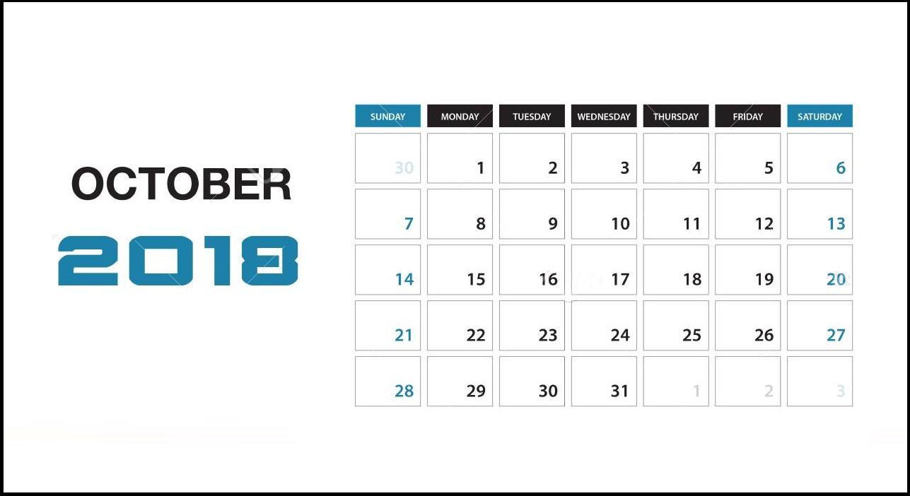 Desk Calendar October 2018