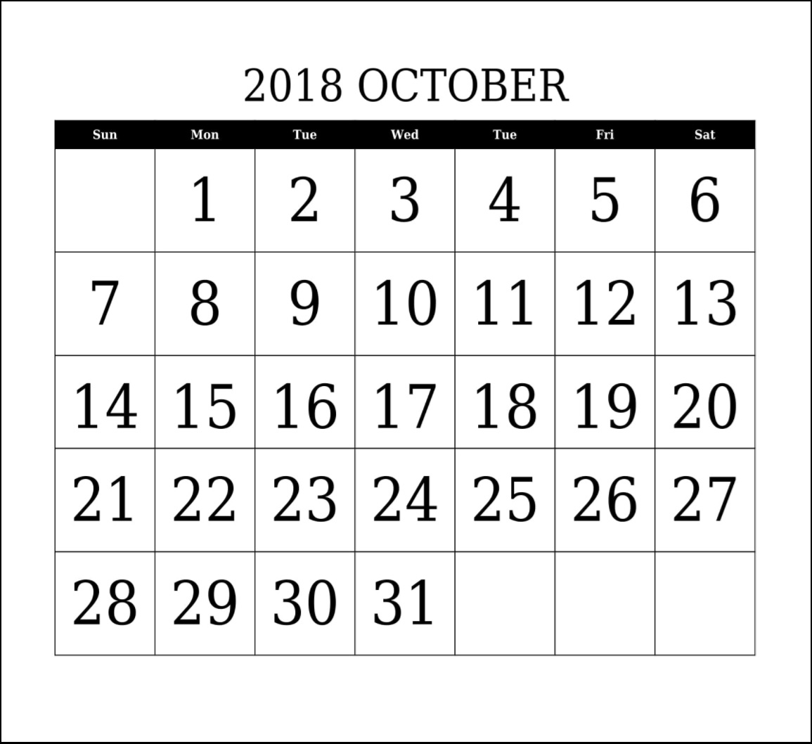 Editable October 2018 Calendar Templates