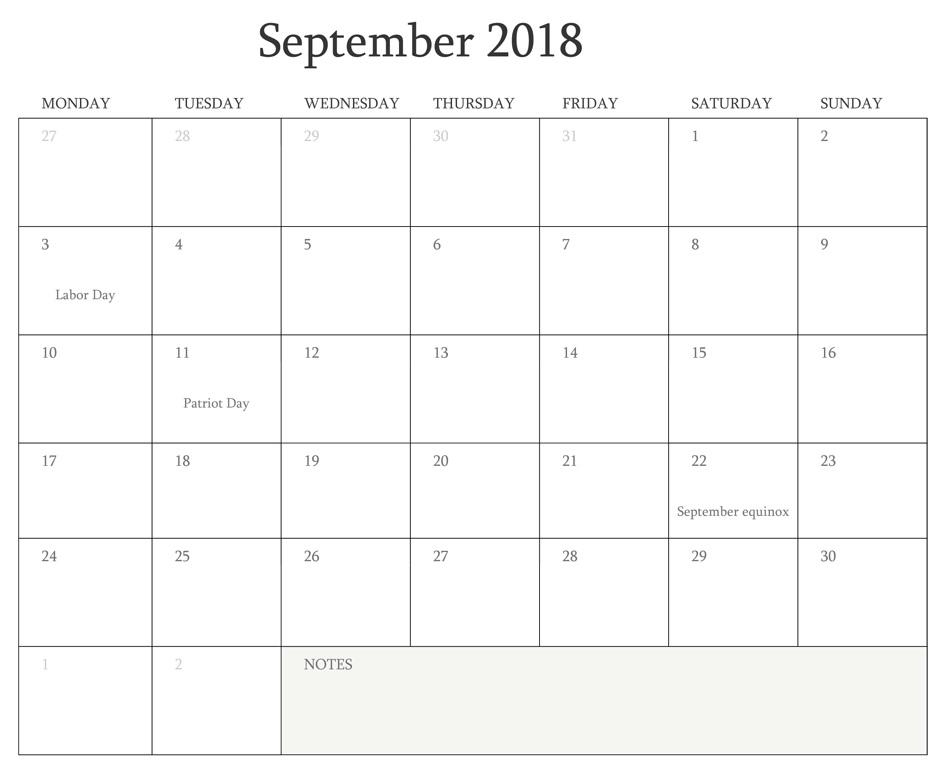 Editable September 2018 Calendar