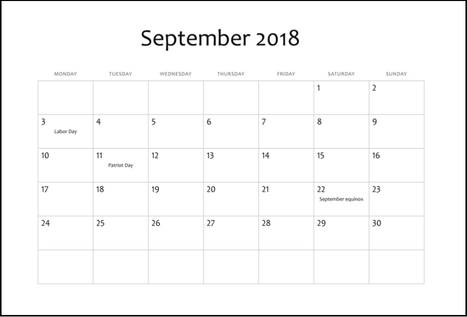 Editable September 2018 Holidays Calendar