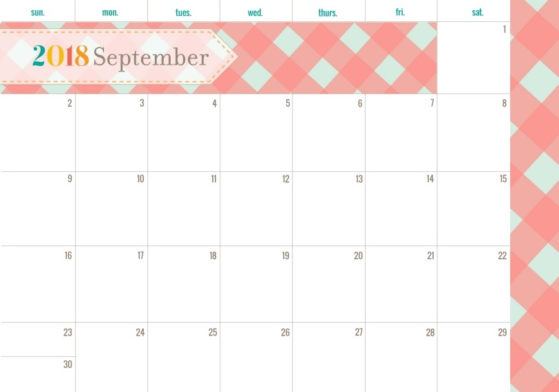 Elegance September 2018 Editable Calendar