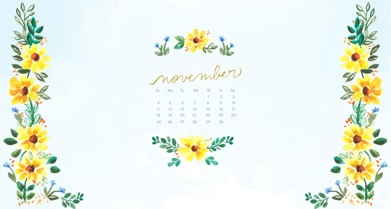Floral November 2018 Calendar Wallpapers