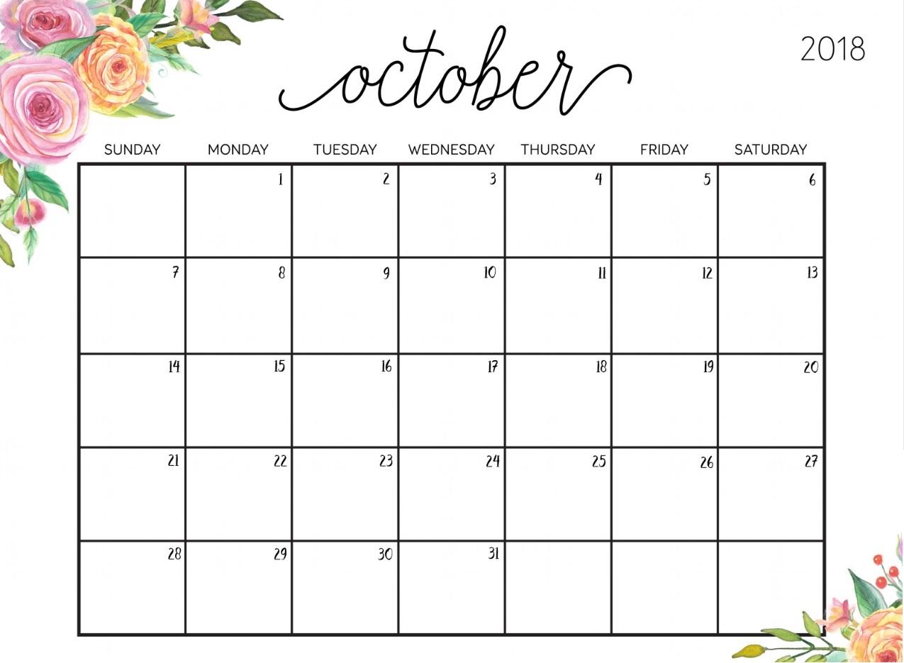 Floral October 2018 Calendar Templates