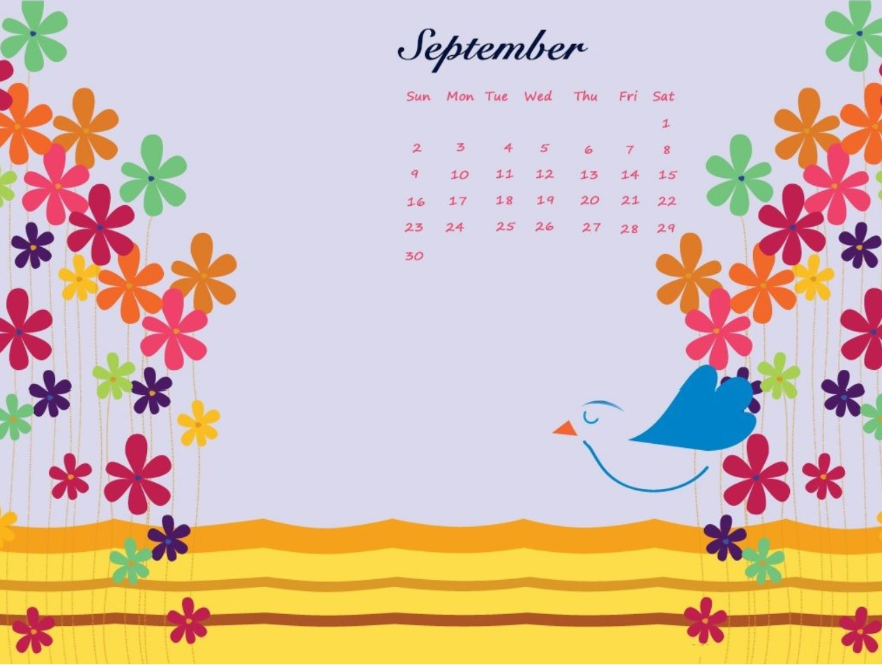 Floral September 2018 Calendar Wallpapers