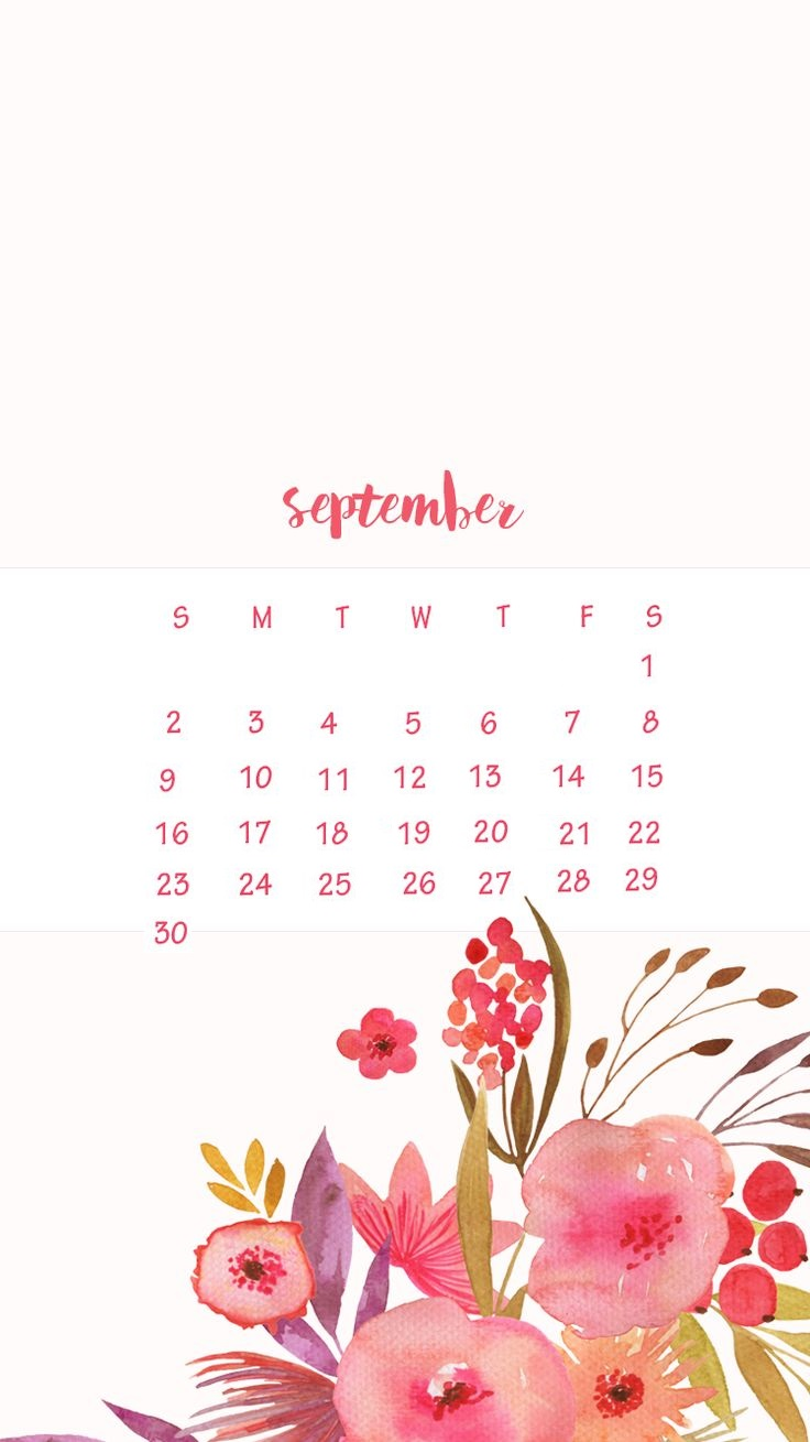 Floral September 2018 iPhone Calendar