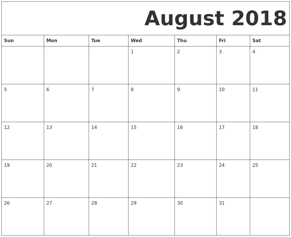 Free August 2018 Calendar Blank Templates