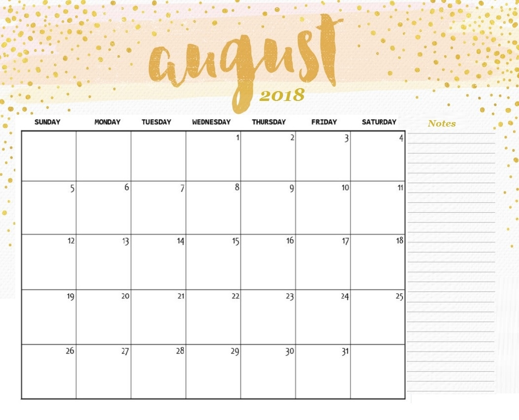 Free August Calendar Blank Desk Calendar