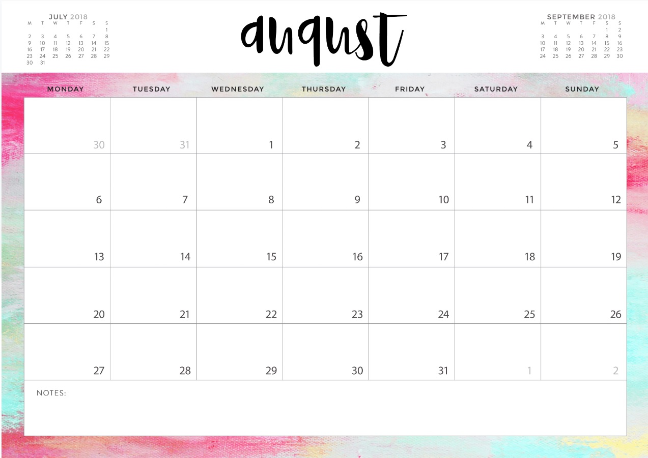 Free August 2018 Calendar Download