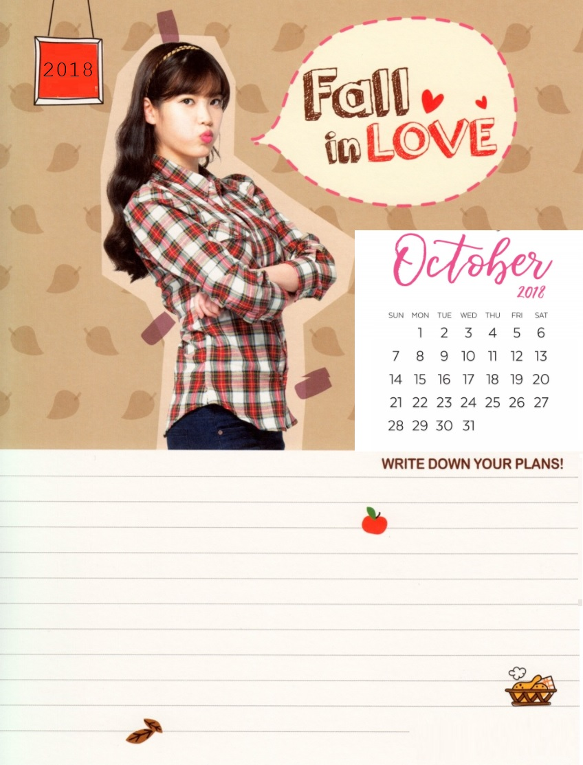 Free Desk Calendar October 2018